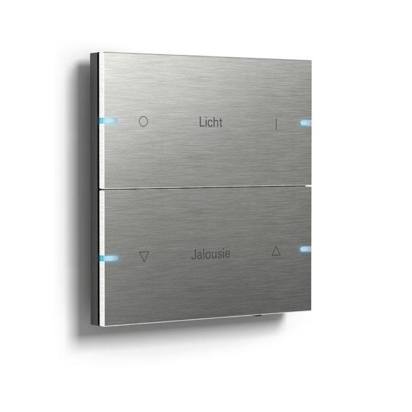 Gira Tastsensor 4, 2-fach in Edelstahl mit blauen LEDs