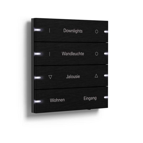 Gira Tastsensor 4, 4-fach in schwarzem Aluminium mit weißen LEDs