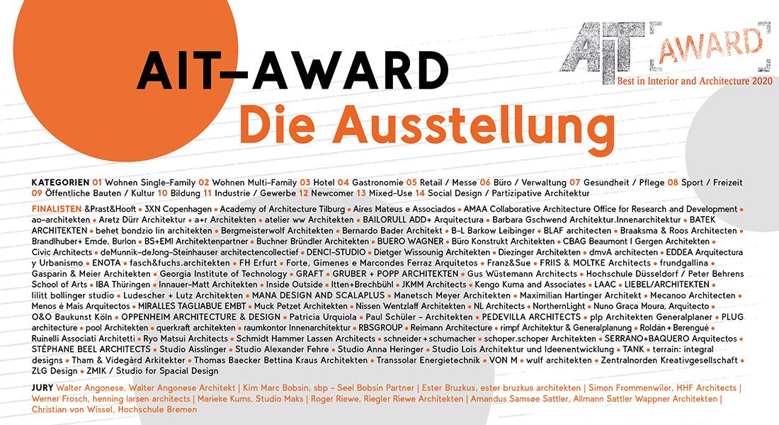 AIT-Award 2020 | Die Ausstellung im AIT-ArchitekturSalon München