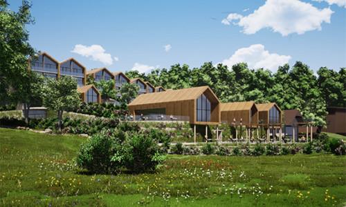 Blick auf das Pfahlbauten-Hoteldorf am Starnberger See von WSM Architekten