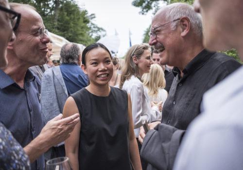 Freuen sich über ein Wiedersehen: die Stuttgarter Architekten Kai Bierich, Van Le-Bierich und Ben Kauffmann