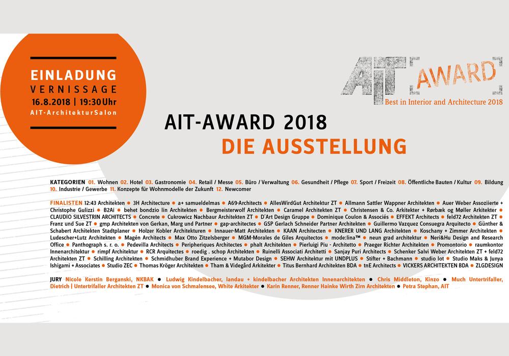 AIT-Award 2018 - Ausstellung im AIT-ArchitekturSalon Hamburg