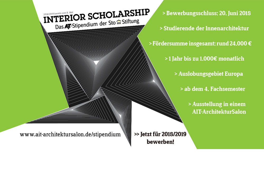 Interior Scholarship - das AIT-Stipendium der Sto-Stiftung